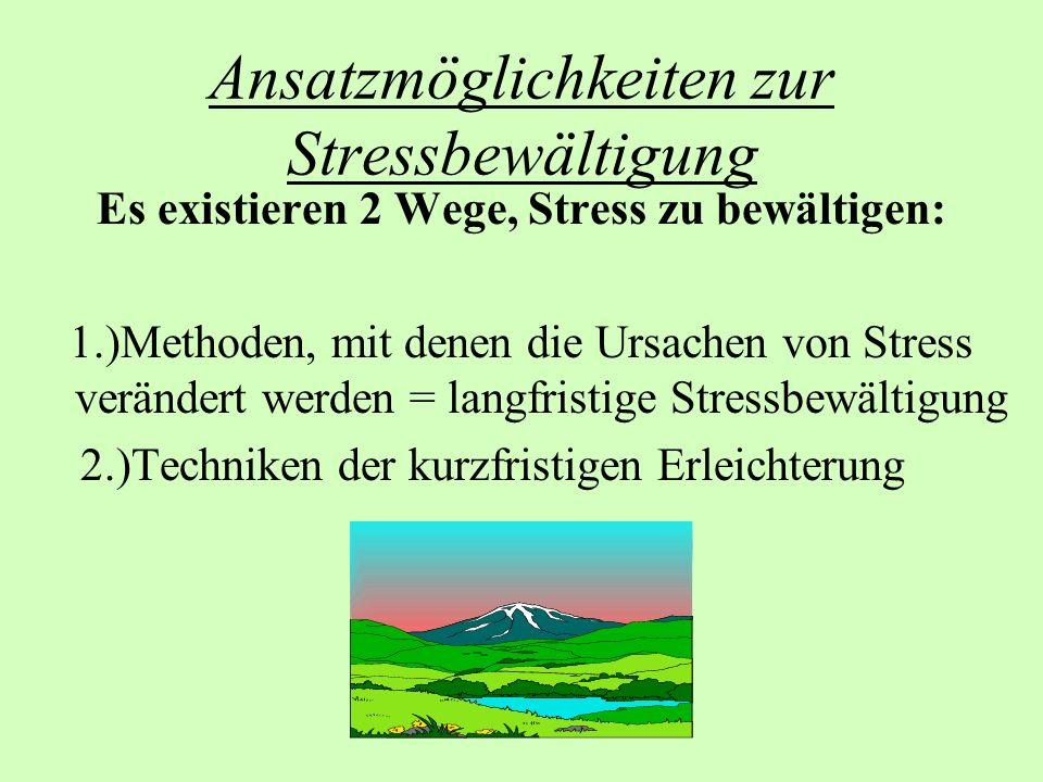 Ansatzmöglichkeiten zur Stressbewältigung Es existieren 2 Wege, Stress zu bewältigen: 1.)Methoden, mit denen die Ursachen von Stress verändert werden