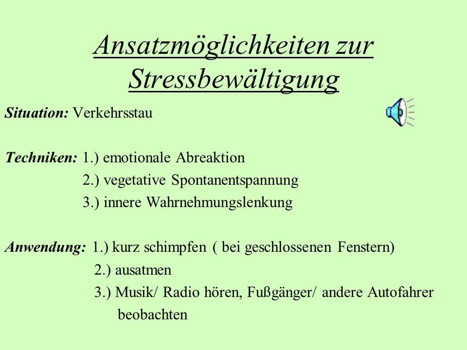 Ansatzmöglichkeiten zur Stressbewältigung Situation: Verkehrsstau Techniken: 1.) emotionale Abreaktion 2.) vegetative Spontanentspannung 3.) innere Wa