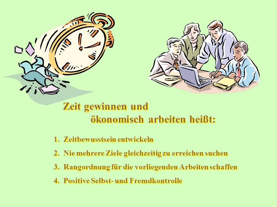 Zeit gewinnen und ökonomisch arbeiten heißt: Zeit gewinnen und ökonomisch arbeiten heißt: 1. Zeitbewusstsein entwickeln 2. Nie mehrere Ziele gleichzei