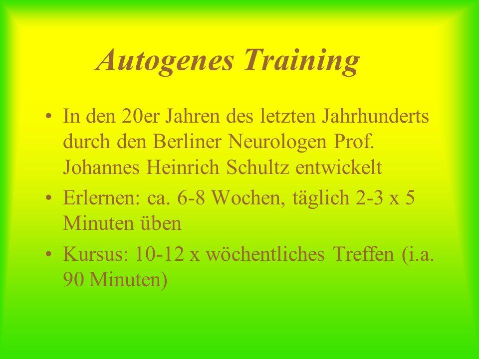 Autogenes Training In den 20er Jahren des letzten Jahrhunderts durch den Berliner Neurologen Prof. Johannes Heinrich Schultz entwickelt Erlernen: ca.