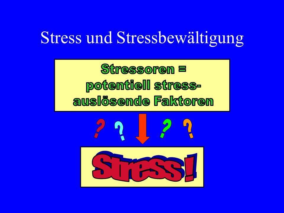 Stressbewältigung - Methoden Verbesserung eigener Fertigkeiten Atemkontrolle Positive Selbst-Instruktion Verbale Eigensteuerung Zeitmanagement Gedankliche Vorwegnahme (gedankliches Durchspielen) bzw.