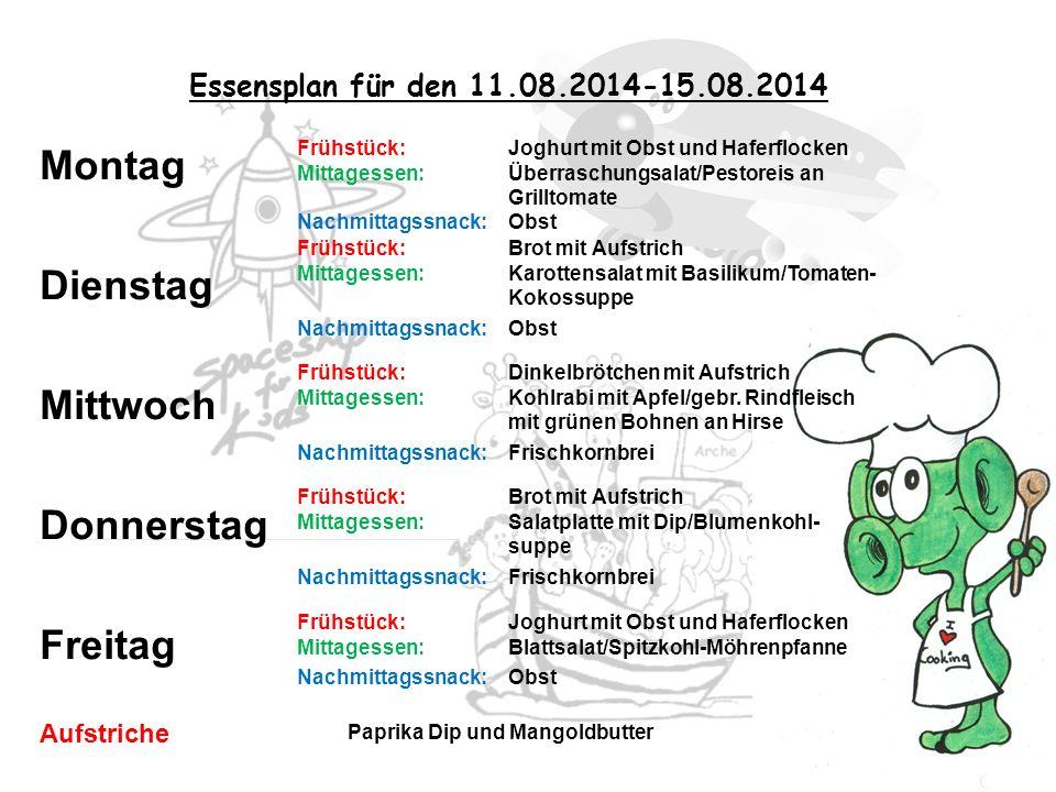 Essensplan für den 11.08.2014-15.08.2014 Frühstück: Joghurt mit Obst und Haferflocken Mittagessen: Überraschungsalat/Pestoreis an Grilltomate Nachmitt