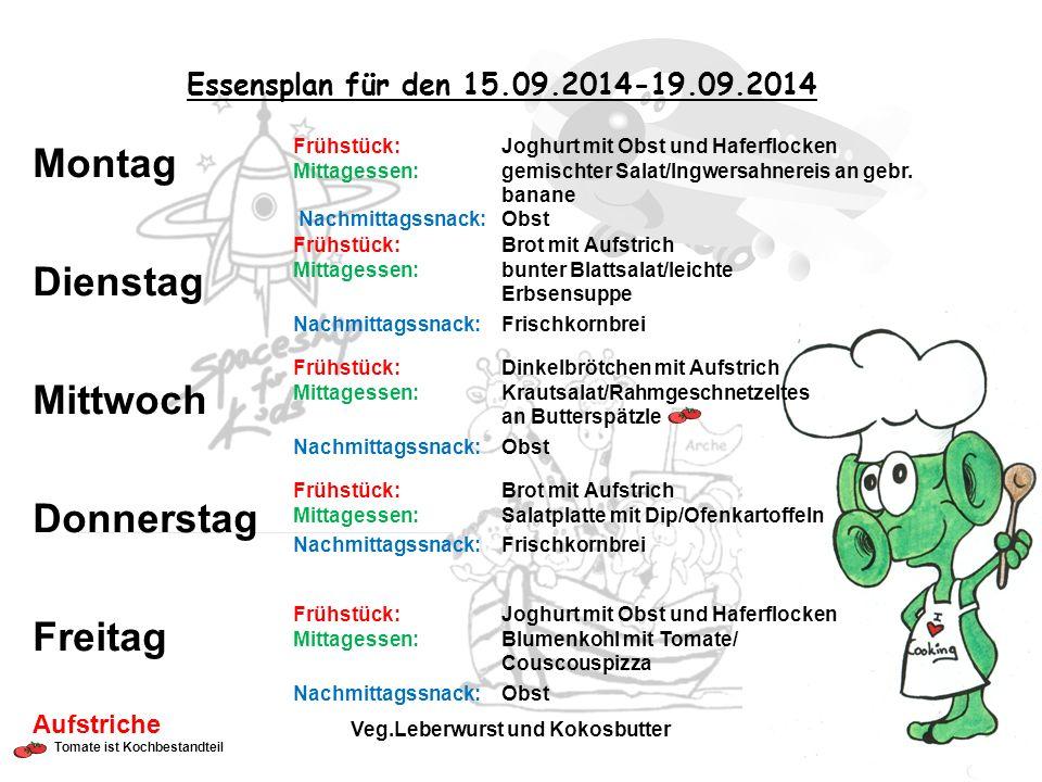 Essensplan für den 15.09.2014-19.09.2014 Frühstück: Joghurt mit Obst und Haferflocken Mittagessen: gemischter Salat/Ingwersahnereis an gebr.