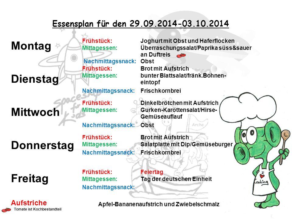 Essensplan für den 29.09.2014-03.10.2014 Frühstück: Joghurt mit Obst und Haferflocken Mittagessen: Überraschungssalat/Paprika süss&sauer an Duftreis N