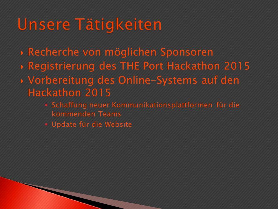  Recherche von möglichen Sponsoren  Registrierung des THE Port Hackathon 2015  Vorbereitung des Online-Systems auf den Hackathon 2015  Schaffung neuer Kommunikationsplattformen für die kommenden Teams  Update für die Website