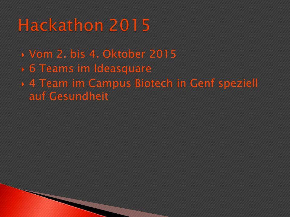  Vom 2. bis 4. Oktober 2015  6 Teams im Ideasquare  4 Team im Campus Biotech in Genf speziell auf Gesundheit