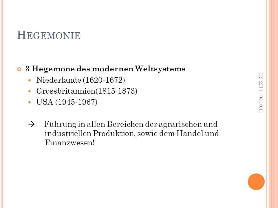 H EGEMONIE 3 Hegemone des modernen Weltsystems Niederlande (1620-1672) Grossbritannien(1815-1873) USA (1945-1967)  Führung in allen Bereichen der agrarischen und industriellen Produktion, sowie dem Handel und Finanzwesen.