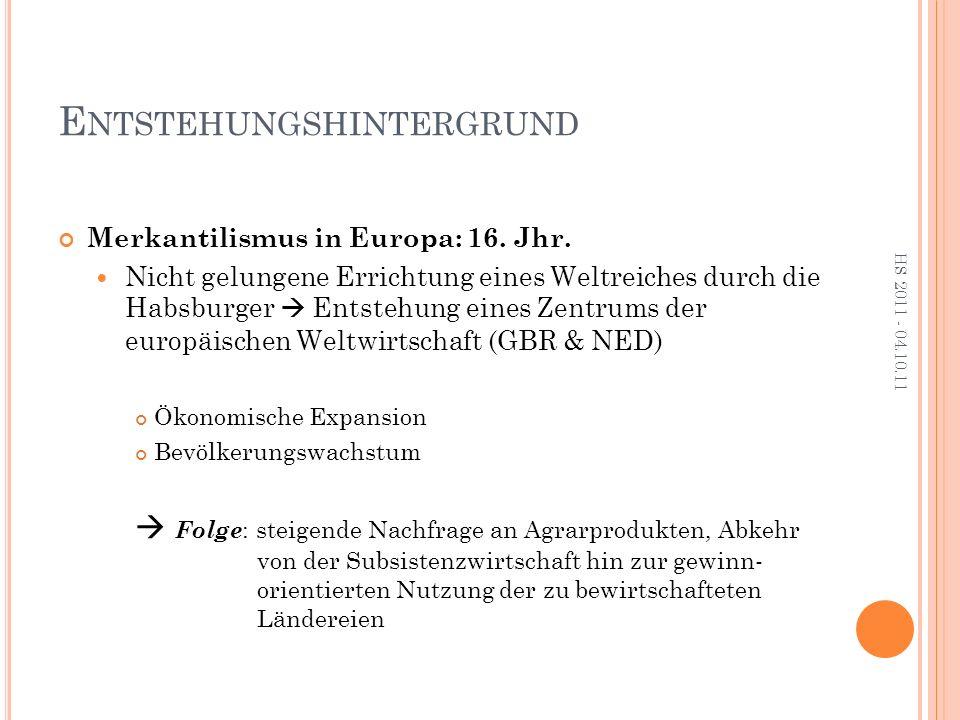 E NTSTEHUNGSHINTERGRUND Merkantilismus in Europa: 16.