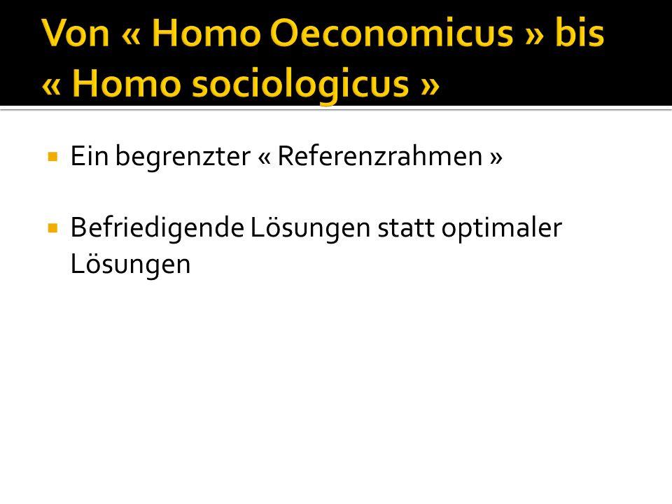 Von « Homo Oeconomicus » bis « Homo sociologicus »  Ein begrenzter « Referenzrahmen »  Befriedigende Lösungen statt optimaler Lösungen