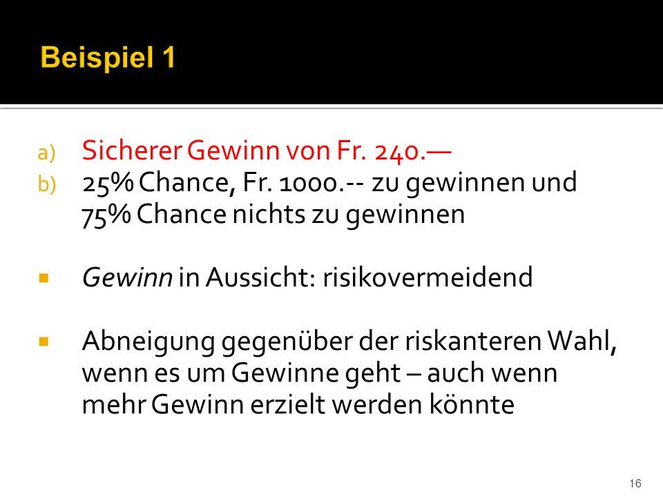 a) Sicherer Gewinn von Fr. 240.— b) 25% Chance, Fr.