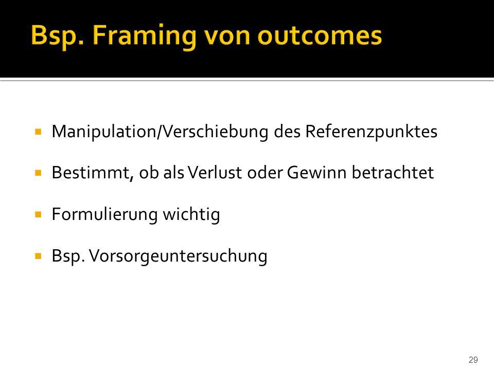  Manipulation/Verschiebung des Referenzpunktes  Bestimmt, ob als Verlust oder Gewinn betrachtet  Formulierung wichtig  Bsp.