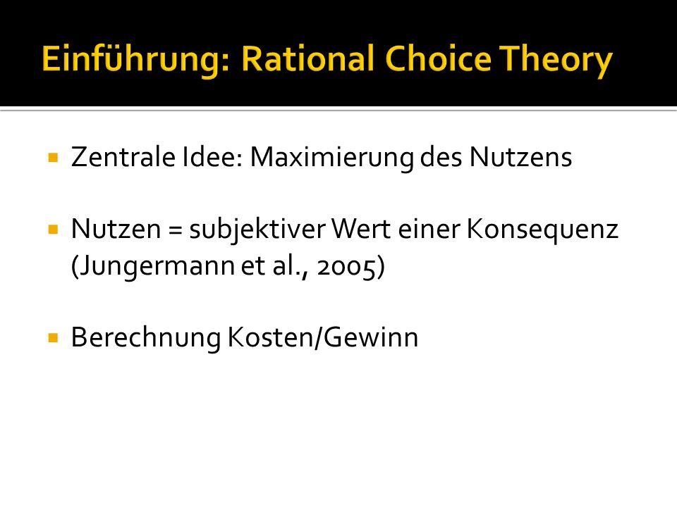 """RC Theory: Entscheidung unter Unsicherheit  """" Wir haben […] darauf hingewiesen, dass grundsätzlich alle Entscheidungen unter Unsicherheit getroffen werden, weil die Konsequenzen jeder Entscheidung immer erst nach der Entscheidung eintreten und daher nie in einem absoluten Sinne sicher sein können (Jungermann et."""