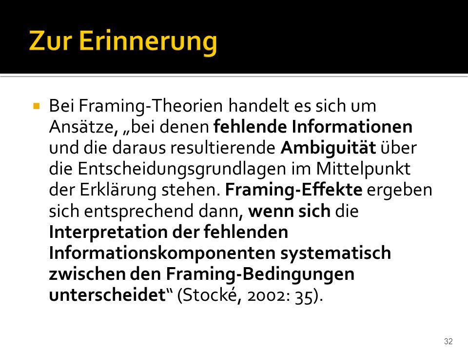 """ Bei Framing-Theorien handelt es sich um Ansätze, """"bei denen fehlende Informationen und die daraus resultierende Ambiguität über die Entscheidungsgrundlagen im Mittelpunkt der Erklärung stehen."""