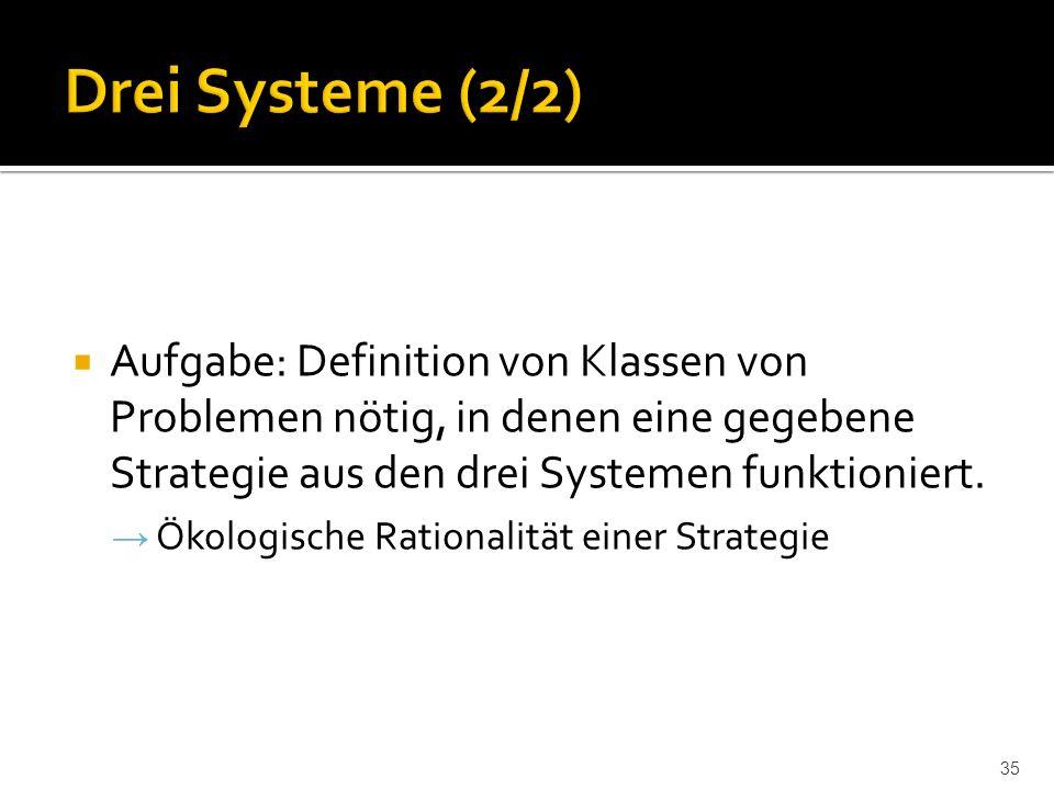  Aufgabe: Definition von Klassen von Problemen nötig, in denen eine gegebene Strategie aus den drei Systemen funktioniert.