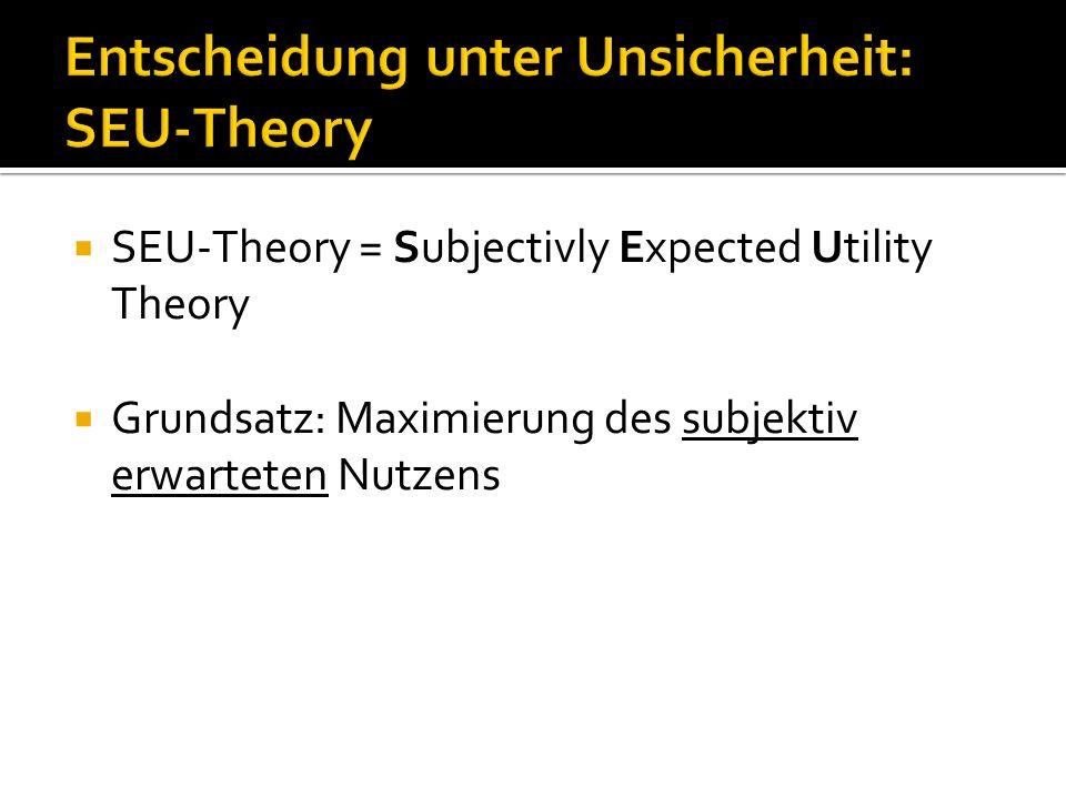 Entscheidung unter Unsicherheit: SEU-Theory  Wert einer Option = Die Summe der Nutzenwerte der einzelnen möglichen Konsequenzen, gewichtet mit den Wahrscheinlichkeiten ihres Eintretens  Wichtig: Beide Faktoren (Unsicherheit und Nutzen) als subjektive Grössen