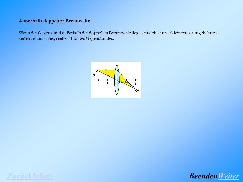 Außerhalb doppelter Brennweite Wenn der Gegenstand außerhalb der doppelten Brennweite liegt, entsteht ein verkleinertes, umgekehrtes, seitenvertauschtes, reelles Bild des Gegenstandes.