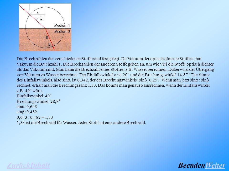 (Abb.17) Die Brechzahlen der verschiedenen Stoffe sind festgelegt.