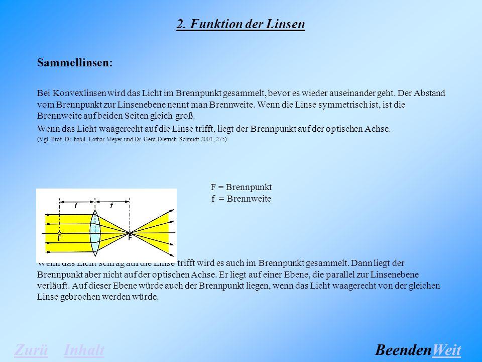 2. Funktion der Linsen Sammellinsen: Bei Konvexlinsen wird das Licht im Brennpunkt gesammelt, bevor es wieder auseinander geht. Der Abstand vom Brennp