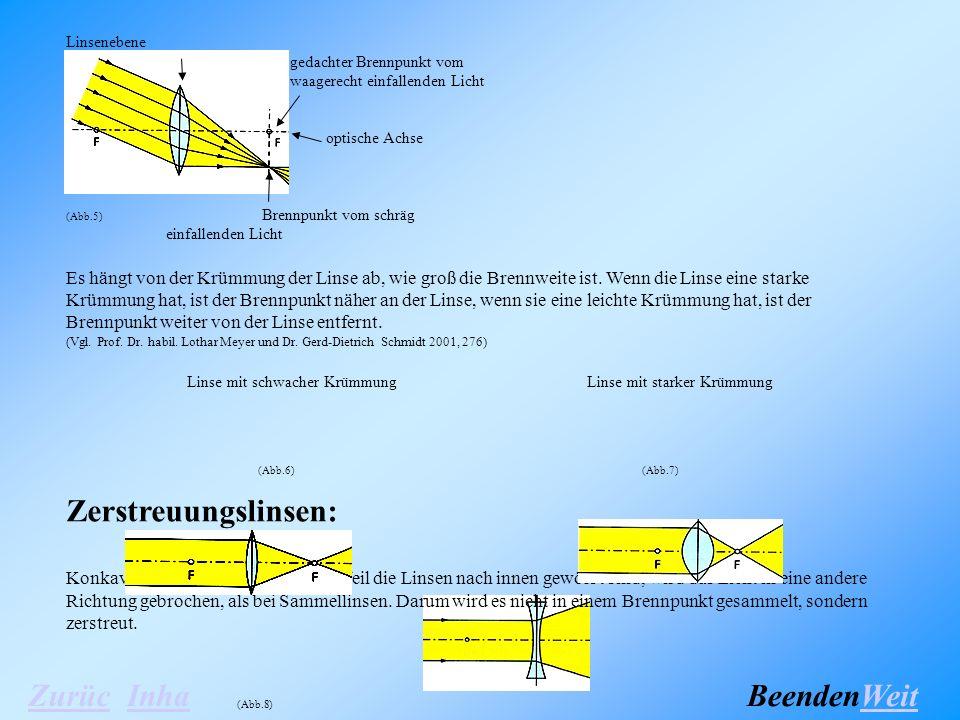Linsenebene gedachter Brennpunkt vom waagerecht einfallenden Licht optische Achse (Abb.5) Brennpunkt vom schräg einfallenden Licht Es hängt von der Krümmung der Linse ab, wie groß die Brennweite ist.