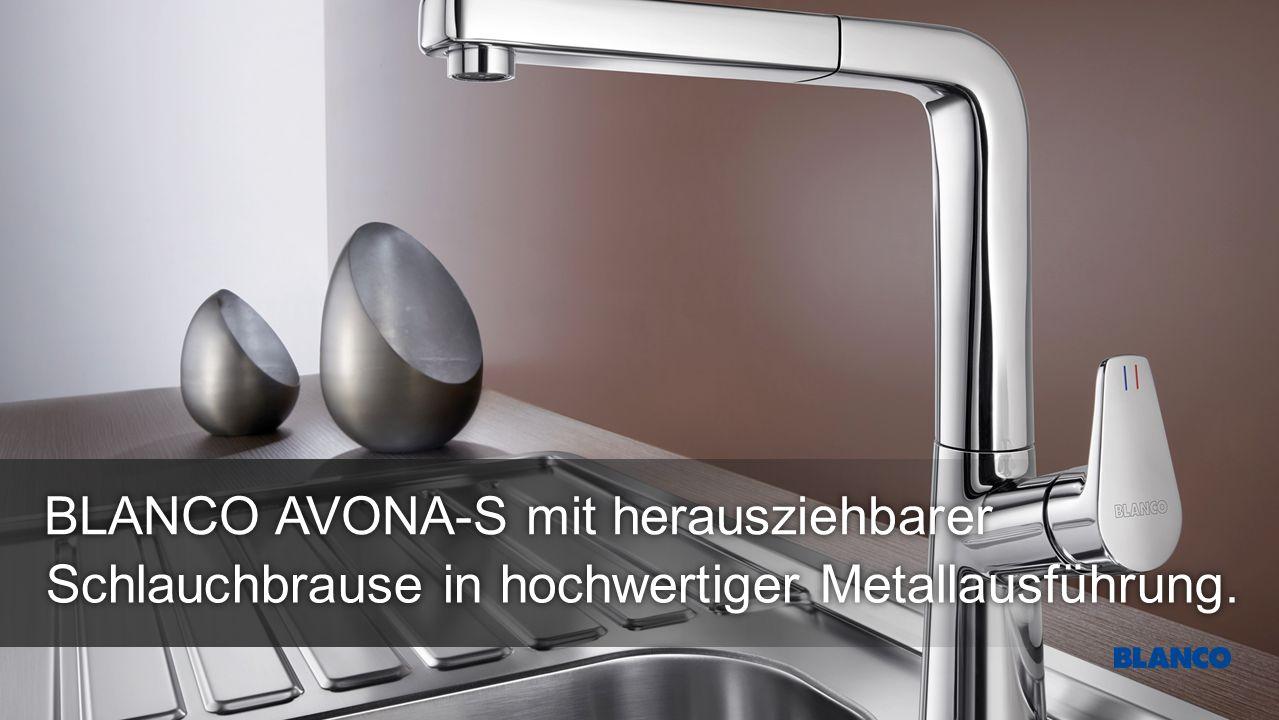 Schlauchbrause in hochwertiger Metallausführung. BLANCO AVONA-S mit herausziehbarer