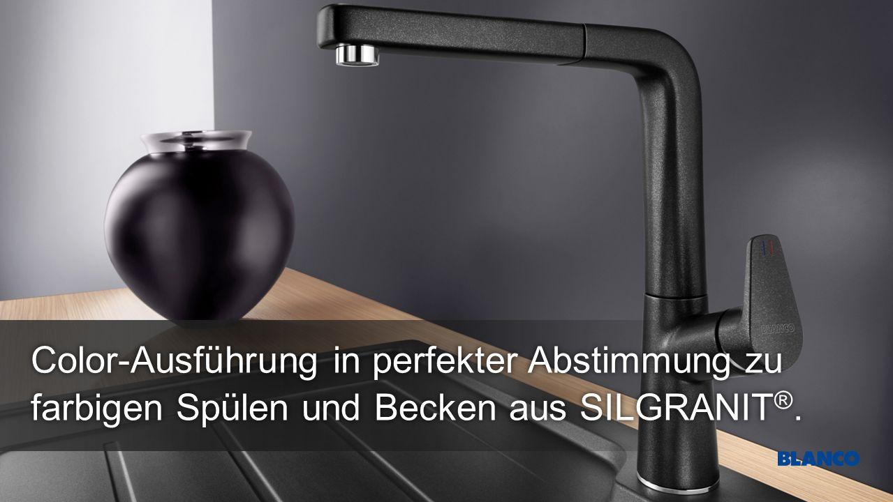 farbigen Spülen und Becken aus SILGRANIT ®. Color-Ausführung in perfekter Abstimmung zu