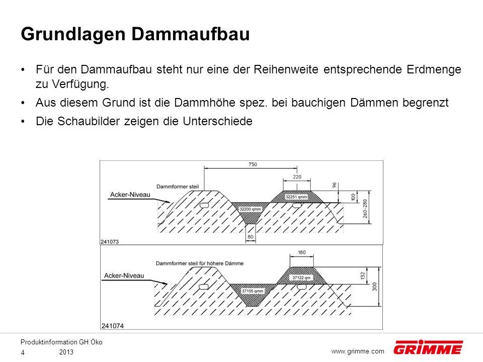 Produktinformation GH Öko 2013 4 www.grimme.com Für den Dammaufbau steht nur eine der Reihenweite entsprechende Erdmenge zu Verfügung. Aus diesem Grun