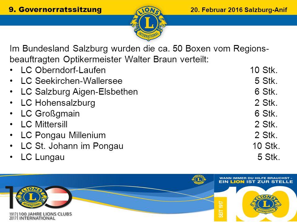 9. Governorratssitzung 20. Februar 2016 Salzburg-Anif …………………………………………….. Im Bundesland Salzburg wurden die ca. 50 Boxen vom Regions- beauftragten Opt