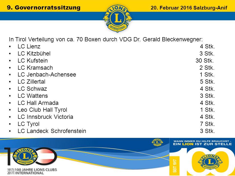 9. Governorratssitzung 20. Februar 2016 Salzburg-Anif …………………………………………….. In Tirol Verteilung von ca. 70 Boxen durch VDG Dr. Gerald Bleckenwegner: LC