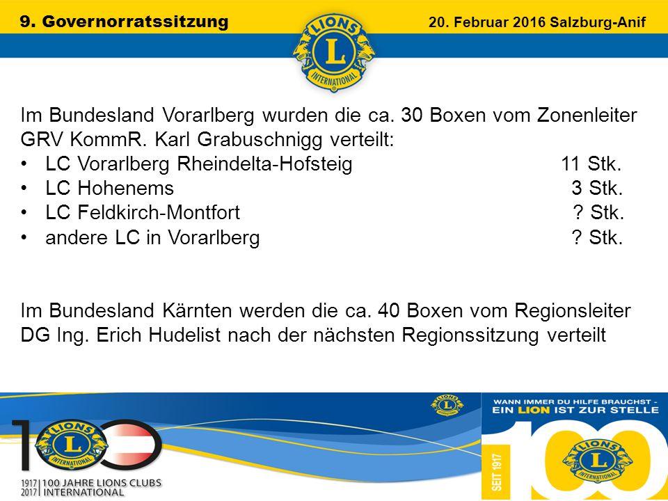 9. Governorratssitzung 20. Februar 2016 Salzburg-Anif …………………………………………….. Im Bundesland Vorarlberg wurden die ca. 30 Boxen vom Zonenleiter GRV KommR.