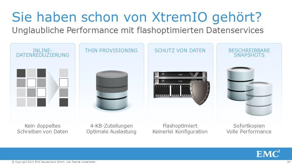 36© Copyright 2013 EMC Deutschland GmbH. Alle Rechte vorbehalten.