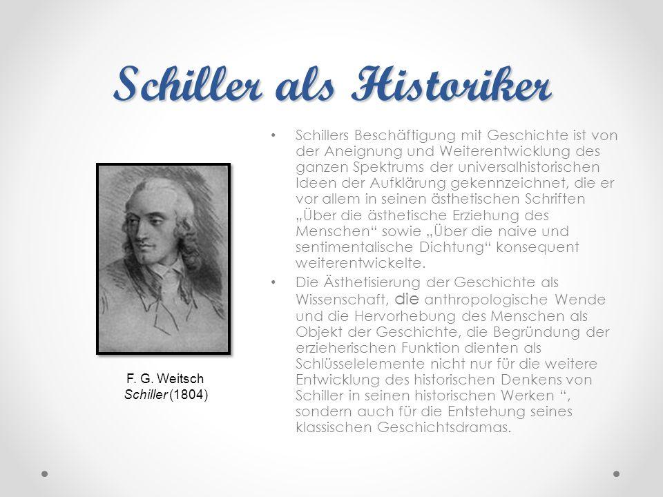 Schiller als Historiker Schillers Beschäftigung mit Geschichte ist von der Aneignung und Weiterentwicklung des ganzen Spektrums der universalhistorisc