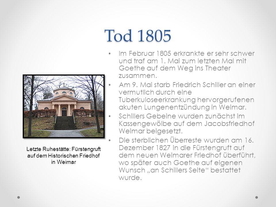 Tod 1805 Im Februar 1805 erkrankte er sehr schwer und traf am 1. Mai zum letzten Mal mit Goethe auf dem Weg ins Theater zusammen. Am 9. Mai starb Frie
