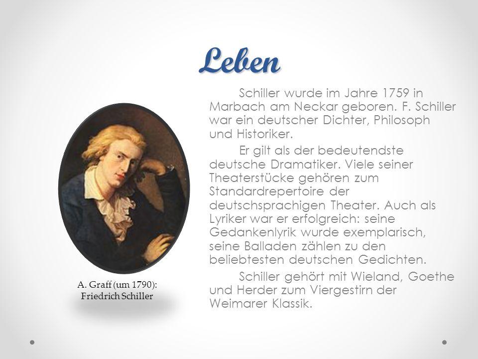 Leben Schiller wurde im Jahre 1759 in Marbach am Neckar geboren. F. Schiller war ein deutscher Dichter, Philosoph und Historiker. Er gilt als der bede