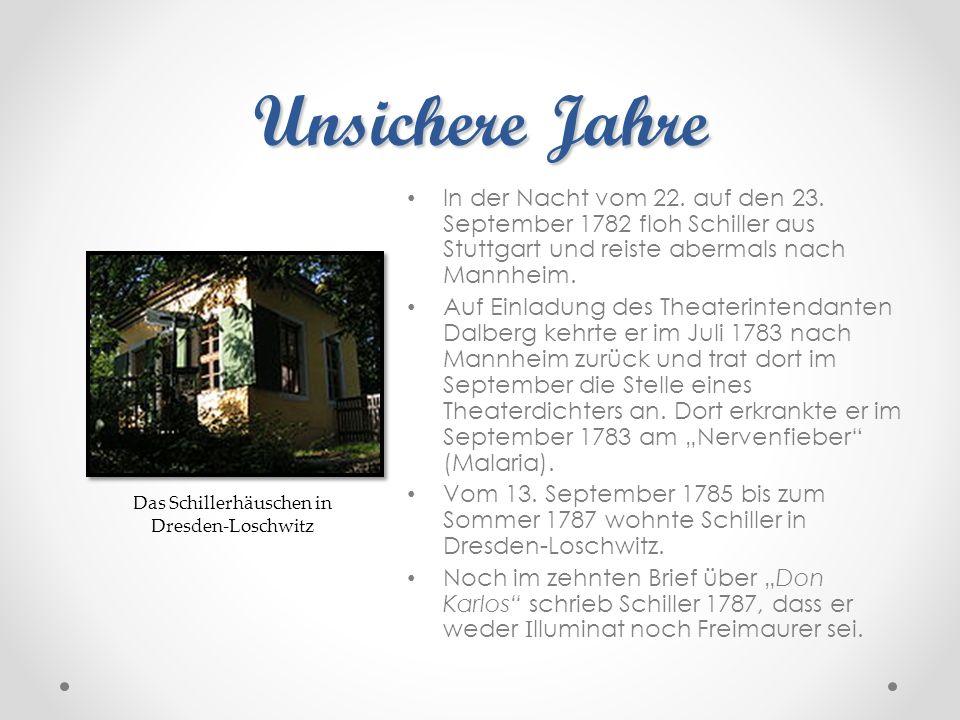 Unsichere Jahre In der Nacht vom 22. auf den 23. September 1782 floh Schiller aus Stuttgart und reiste abermals nach Mannheim. Auf Einladung des Theat