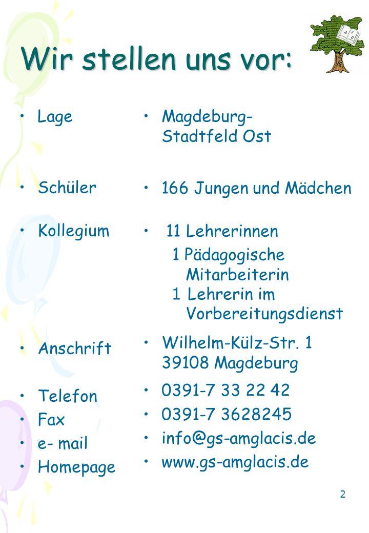 Wir stellen uns vor: Lage Schüler Kollegium Anschrift Telefon Fax e- mail Homepage Magdeburg- Stadtfeld Ost 166 Jungen und Mädchen 11 Lehrerinnen 1 Pä