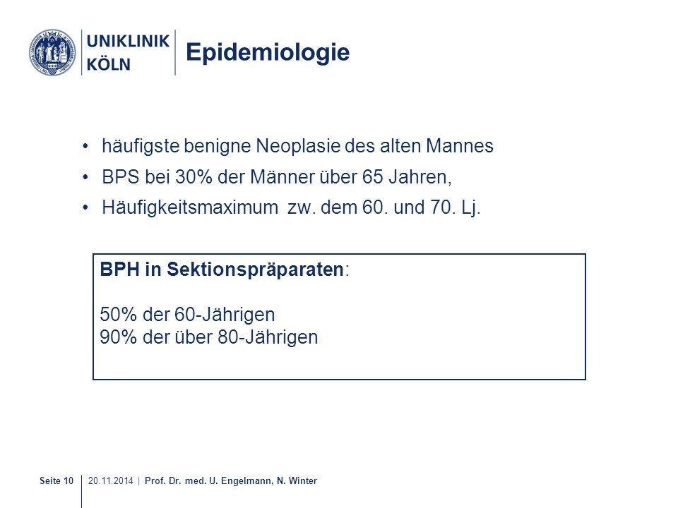 Seite 10 20.11.2014 | Prof. Dr. med. U. Engelmann, N. Winter Epidemiologie häufigste benigne Neoplasie des alten Mannes BPS bei 30% der Männer über 65