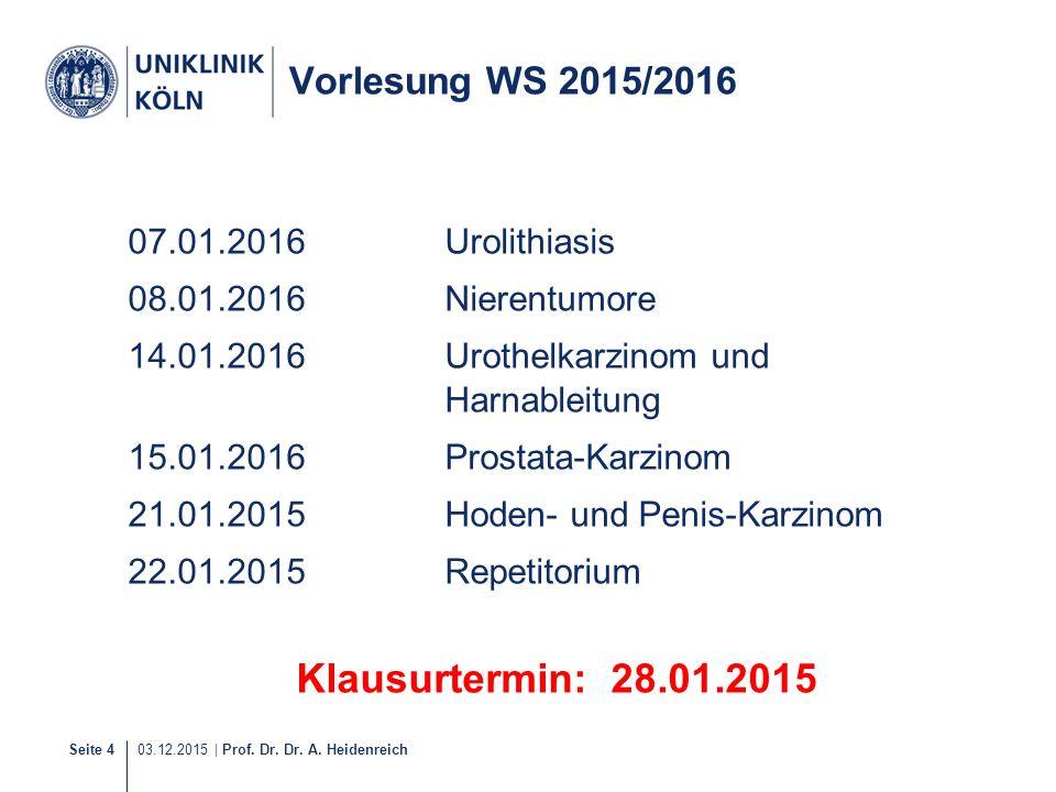 Seite 4 03.12.2015 | Prof. Dr. Dr. A. Heidenreich Vorlesung WS 2015/2016 07.01.2016Urolithiasis 08.01.2016Nierentumore 14.01.2016Urothelkarzinom und H