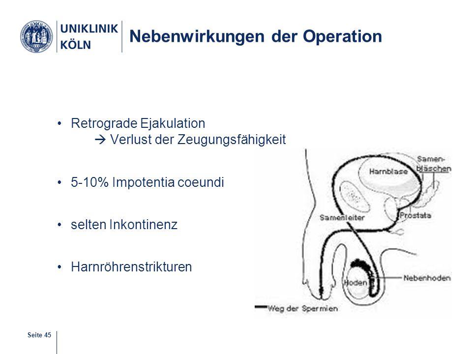 Seite 45 Nebenwirkungen der Operation Retrograde Ejakulation  Verlust der Zeugungsfähigkeit 5-10% Impotentia coeundi selten Inkontinenz Harnröhrenstr