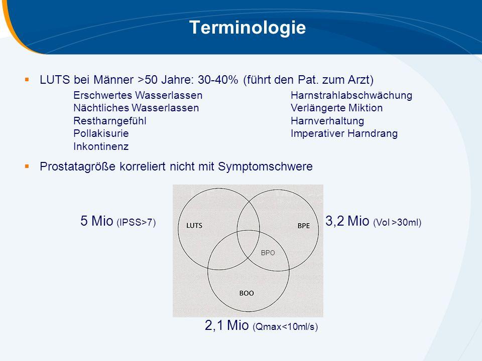 Terminologie  LUTS bei Männer >50 Jahre: 30-40% (führt den Pat. zum Arzt)  Prostatagröße korreliert nicht mit Symptomschwere 5 Mio (IPSS>7) 3,2 Mio