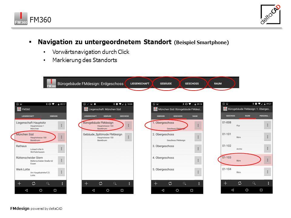 FMdesign powered by deltaCAD  Navigation zu untergeordnetem Standort (Beispiel Smartphone) Vorwärtsnavigation durch Click Markierung des Standorts FM