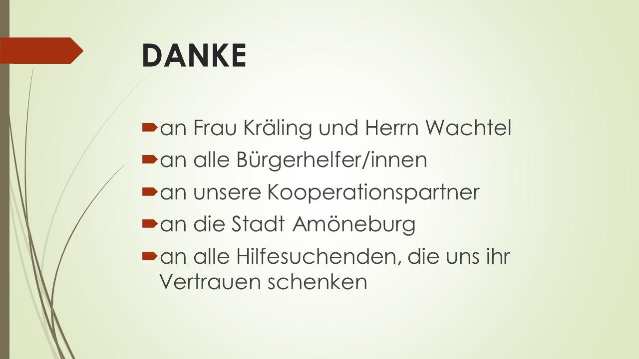 DANKE  an Frau Kräling und Herrn Wachtel  an alle Bürgerhelfer/innen  an unsere Kooperationspartner  an die Stadt Amöneburg  an alle Hilfesuchend