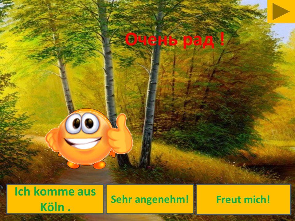 Freut mich! Ich komme aus Köln. Sehr angenehm! Очень рад !