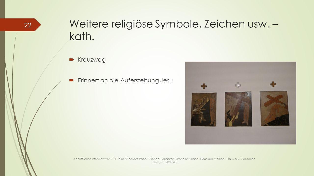 Weitere religiöse Symbole, Zeichen usw. – kath.  Kreuzweg  Erinnert an die Auferstehung Jesu 22 Schriftliches Interview vom 1.1.15 mit Andreas Pape;