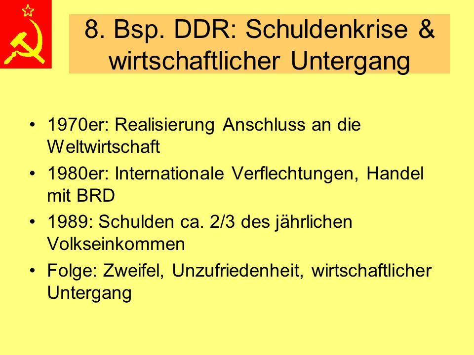 8. Bsp. DDR: Schuldenkrise & wirtschaftlicher Untergang 1970er: Realisierung Anschluss an die Weltwirtschaft 1980er: Internationale Verflechtungen, Ha