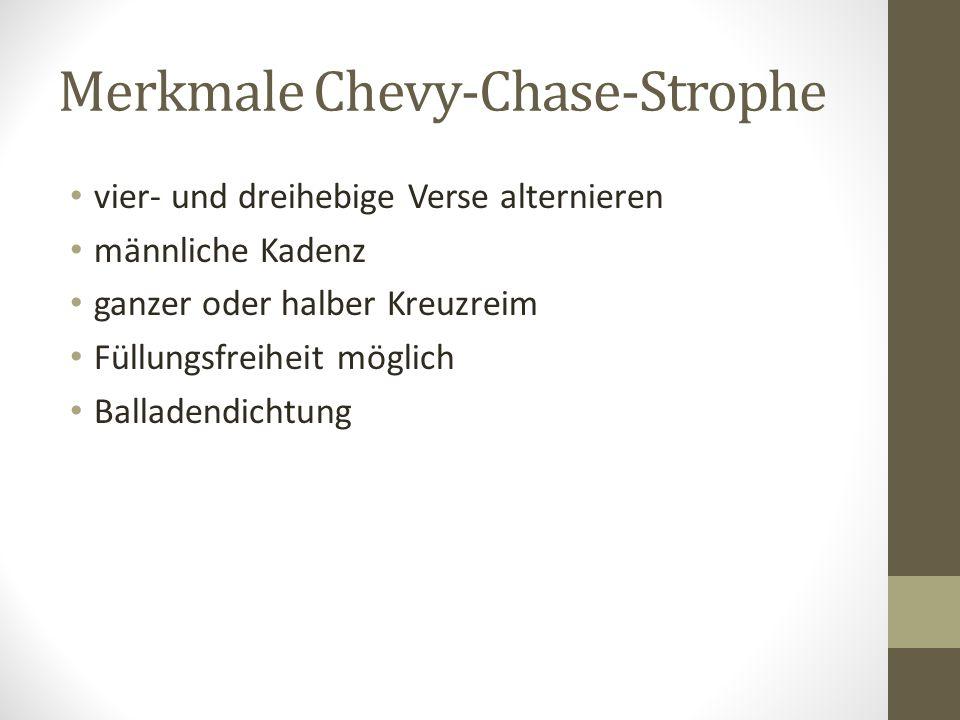 Merkmale Chevy-Chase-Strophe vier- und dreihebige Verse alternieren männliche Kadenz ganzer oder halber Kreuzreim Füllungsfreiheit möglich Balladendichtung