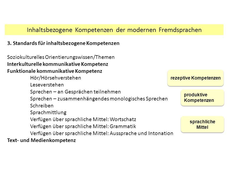 Inhaltsbezogene Kompetenzen der modernen Fremdsprachen 3.