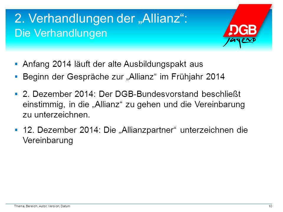 """2. Verhandlungen der """"Allianz"""": Die Verhandlungen  Anfang 2014 läuft der alte Ausbildungspakt aus  Beginn der Gespräche zur """"Allianz"""" im Frühjahr 20"""