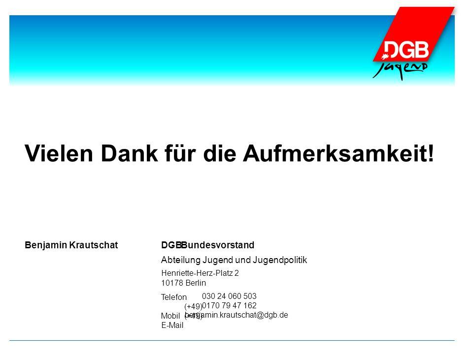 Telefon (+49) Mobil(+49) E-Mail DGBBenjamin KrautschatBundesvorstand Abteilung Jugend und Jugendpolitik Henriette-Herz-Platz 2 10178 Berlin 030 24 060 503 0170 79 47 162 benjamin.krautschat@dgb.de Vielen Dank für die Aufmerksamkeit!