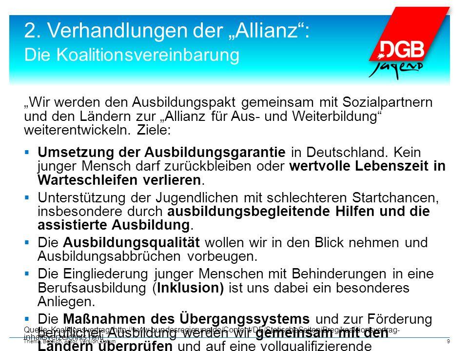 """2. Verhandlungen der """"Allianz"""": Die Koalitionsvereinbarung """"Wir werden den Ausbildungspakt gemeinsam mit Sozialpartnern und den Ländern zur """"Allianz f"""
