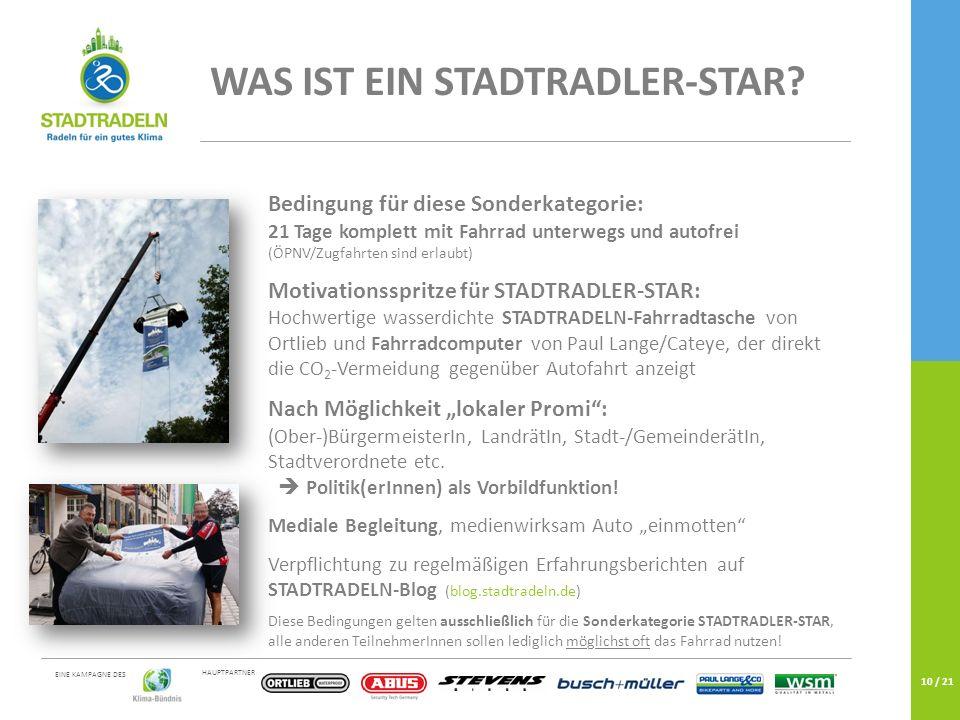 HAUPTPARTNER EINE KAMPAGNE DES 10 / 21 WAS IST EIN STADTRADLER-STAR.